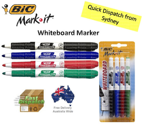 BIC Markit Coloured Whiteboard Markers MultiColoured Pens for school office