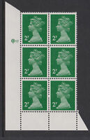 G.B.- MACHIN SG.X1000a/UG6 LITHO 2p GREEN CYL.17  BLOCK OF 6 UM