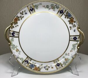 Antique-Hand-Painted-RC-Nippon-Handled-Cake-Plate-1891-1921-Golden-Floral-Signed
