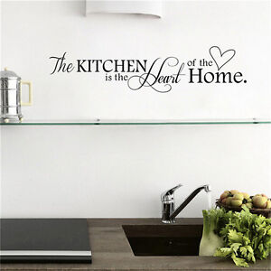 Kitchen-is-the-Heart-of-Home-Wall-Stickers-Quote-Removable-Wall-Decal-Decor-Ey