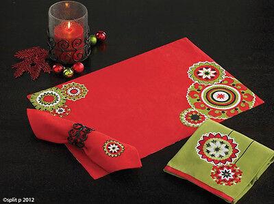 Holiday Medallion Embroidered Napkins Set ~ Set/4