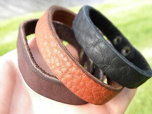 Men-plain-black-or-brown-Bracelet-customize-size-Bison-leather-cuff-wristband
