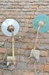 1v2 alte Wandlampe Emaille Fabriklampen Industrie Auslegerlampe Hoflampe 1900+ A