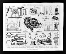 1874 Bilder Forestry Print - Hunting Trapping Traps Shotgun Forest Craft Tools