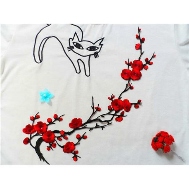 Embroidered Plum Blossom Flower Iron on Patch Applique Motif Clothes Craft Q