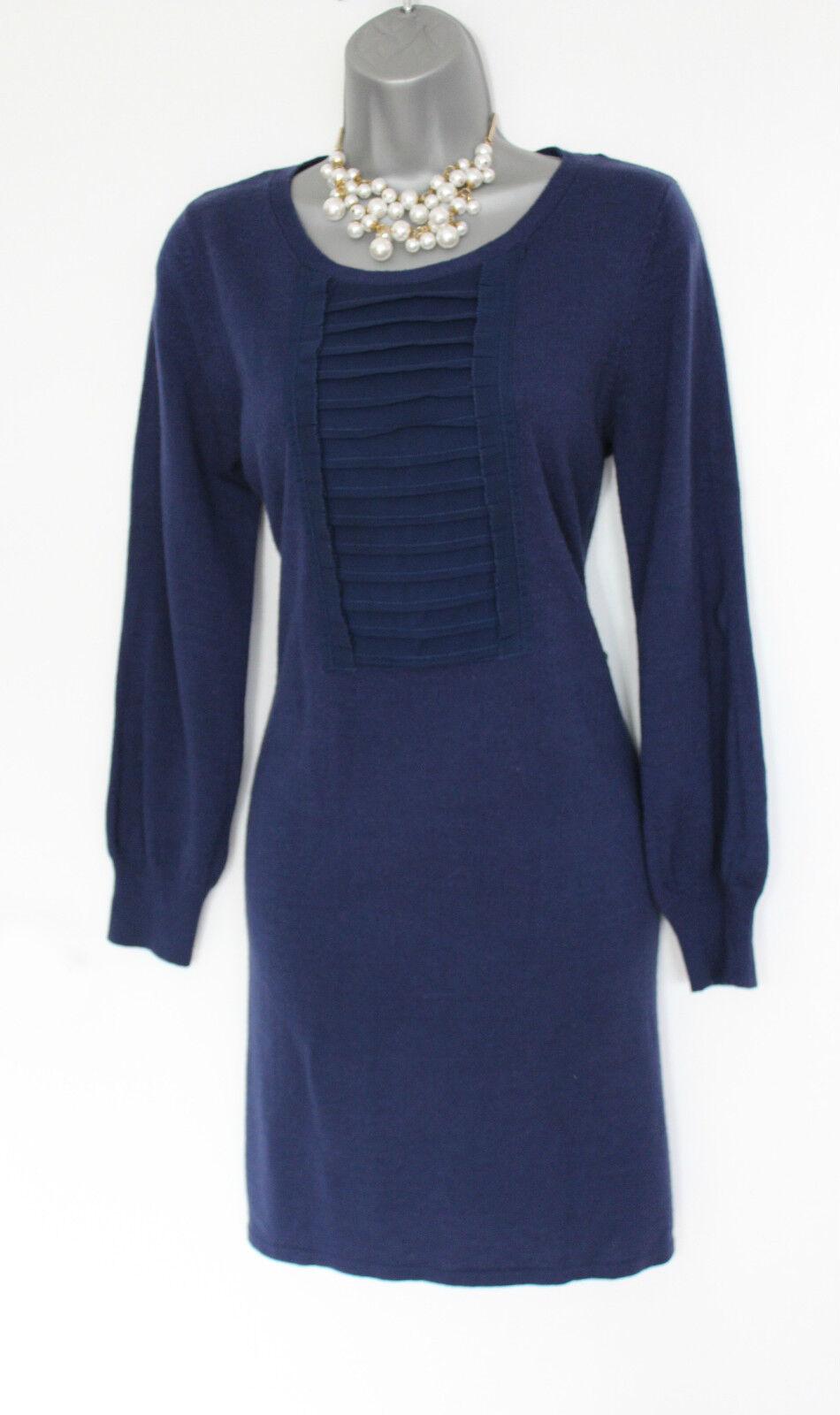 MONSOON Navy Wool Blend Long Sleeves Comfortable Casual Winter Tunic Dress  M