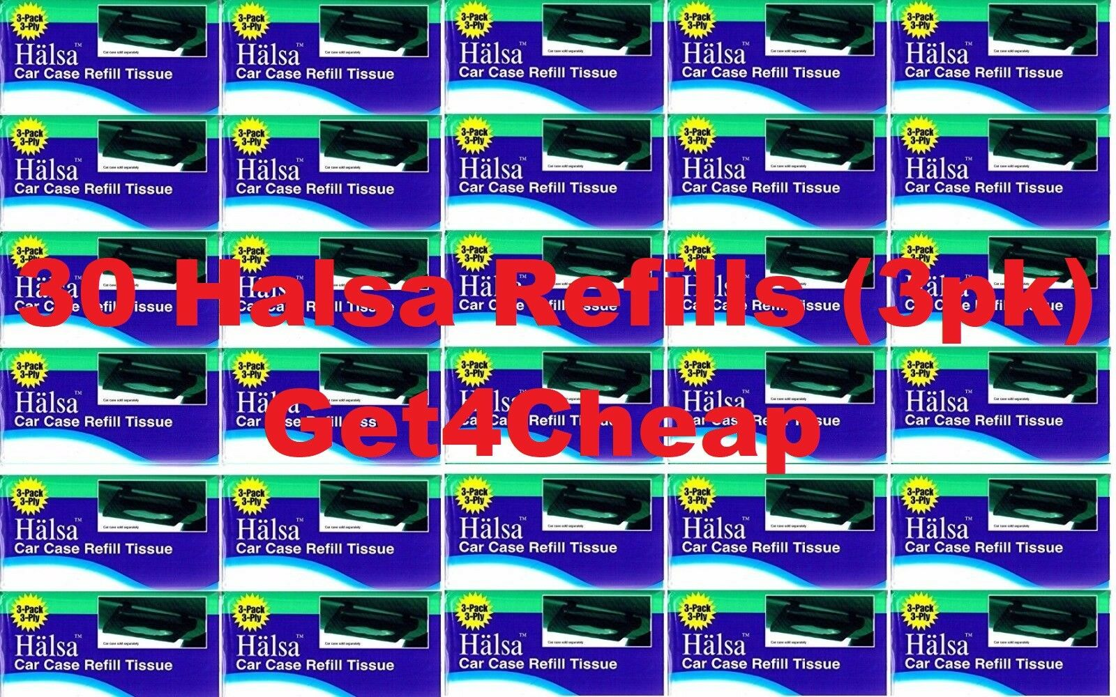 30 x 3pk = 90 SEALED HALSA TISSUES REFILLS CAR WIPE TEMPO VISOR TISSUE KLEENEX