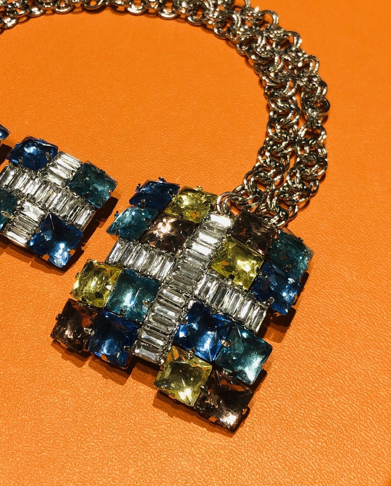 Arnold Scaasi Multi Color Crystal Square Necklace… - image 2