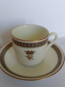Antique-Royal-Doulton-Demitasse-Cup-amp-Saucer-V1948-Royal-Crest