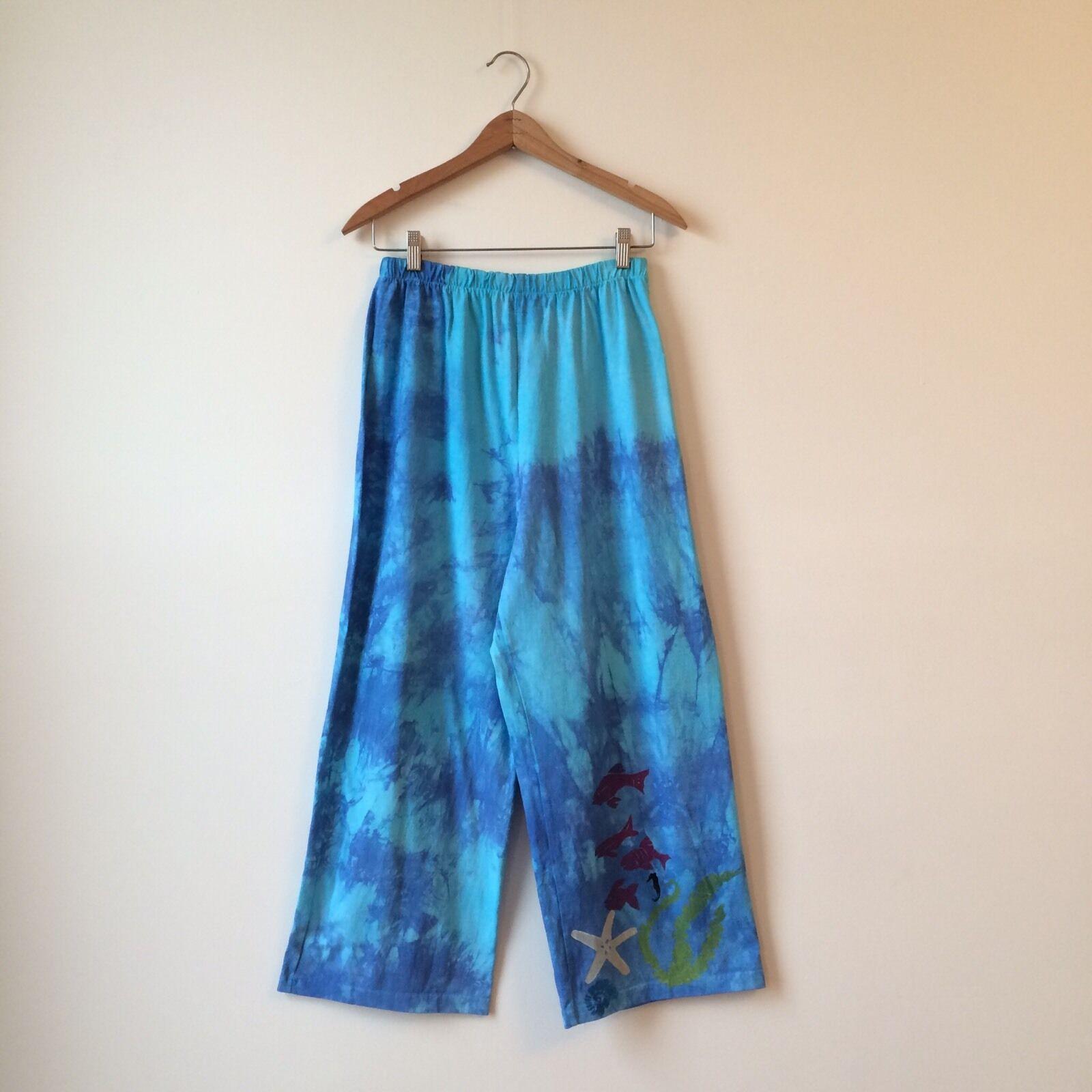 Bread by Staley Gretzinger 100% Cotton Tie Dyed Fish Printed Knit Pants Sz 1 EUC