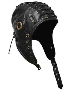 Punk-Rave-Steampunk-Aviateur-Hat-Cap-Noir-De-Trappeur-Vintage-Military-LARP-Cosplay
