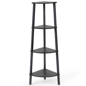4-Tier Corner Shelf Metal Storage Rack Domestic Bookcase Display Stand Wood Grey