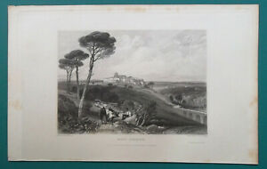 FRANCE-View-of-Mont-Ferrier-1833-Antique-Print-Engraving