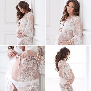1a6c83ee08697 Image is loading Women-Lace-Gown-Sheer-Maternity-Dresses-Photography-Props-