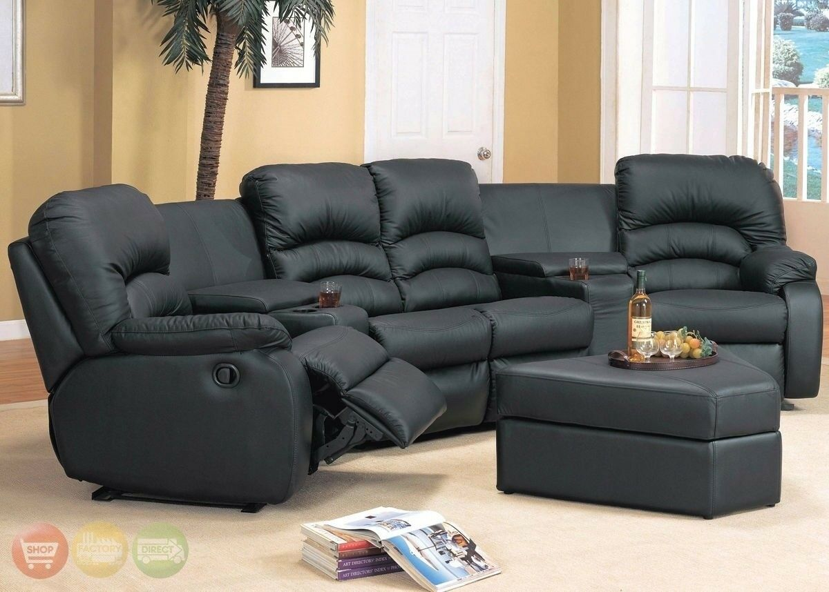 Ventura Reclining Black or Brown Leather Sectional & Ottoman Home Theater  Seats