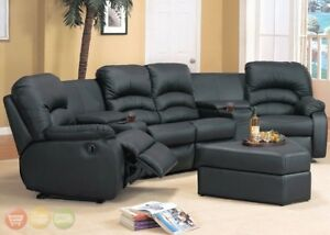 Details about Ventura Reclining Black or Brown Leather Sectional & Ottoman  Home Theater Seats