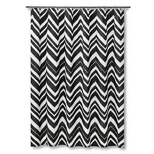 In Plastic Mudhut Black White Chevron Zig Zag Shower Curtain