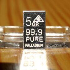 Palladiumbarren 5 GR. = 0,324 Gramm (Barren Palladium Geschenk Geburtstag Pd)