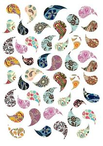 """15 x 2/"""" Colourful Paisley Mendhi Indian Print PRE-CUT ICING Cake Toppers"""