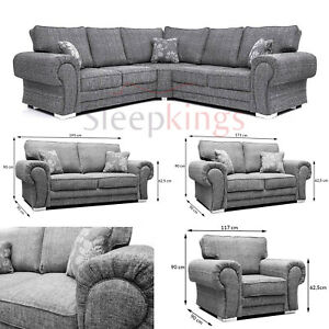 New Wilcot Large Corner Sofa Small Sofa Single Double In Grey Lisbon ...