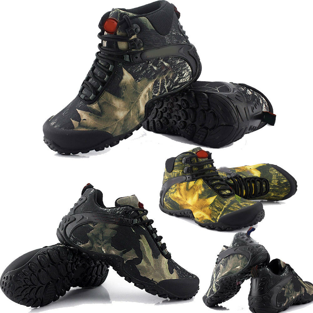 Mens ankle Boots camo camping outdoor hunting high low top shoes hiking working