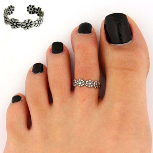 925 Adjustable Retro Silver Plated Toe Ring Foot