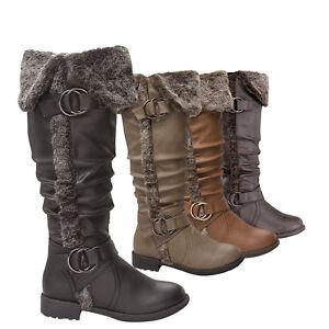 NEW-Women-039-s-Low-Flat-Heel-Fur-Cuff-Knee-High-Slouch-Buckle-Zipper-Riding-Boots