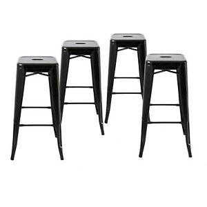 Set Of 4 Black 30 Inches Bar Height Metal Bar Stools Indooroutdoor