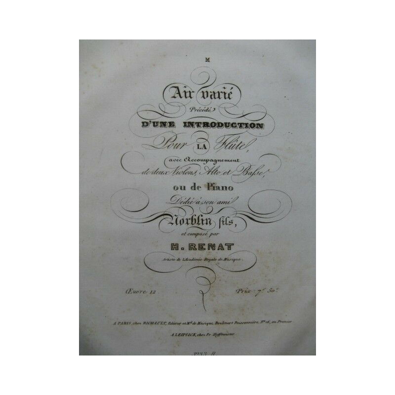 RENAT H. Air Varié Flute Violons Alto Basse 1834 partition sheet music score