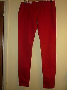 Red-cotton-skinny-jeans-trousers-by-Roxy-Size-30in-BNWT