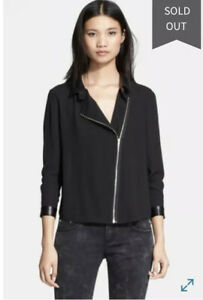 The-Kooples-Lambskin-Leather-Trim-Front-Zip-Crepe-Jacket-size-Small