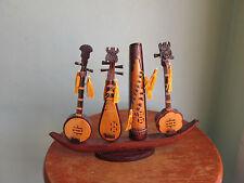 Vintage Vietnam Miniature Handmade Carved Wood Music Instruments On Stand