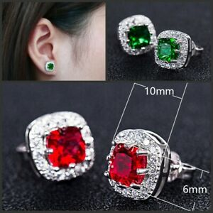 Emerald-Green-Red-Silver-Blue-Stud-Earrings-Surgical-Sterling-Birthstone