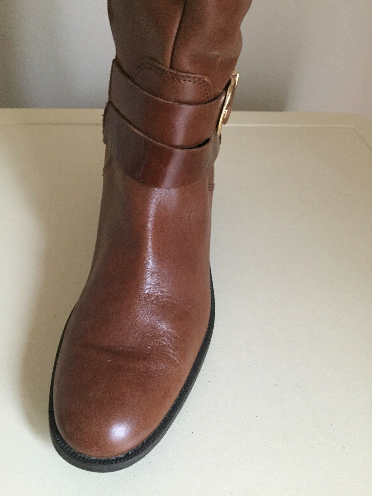 WOMEN TAN KNEE HIGH LEATHER BOOTS 5TH AVENUE  SIZE 5