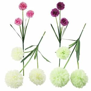 3 Headed Large Pompom Allium Spray Artificial Silk Flowers Fake