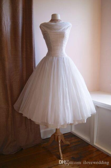 Short Vintage 1950s Wedding Dresses Ivory Tea Length Tulle Bridal Gowns Custom