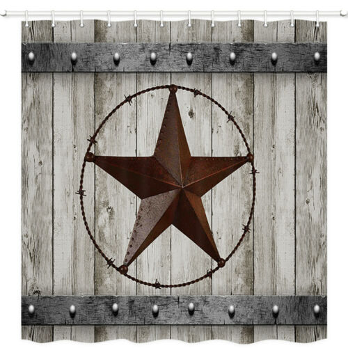 Rustic Wood Door with Southwestern Texas Star Shower Curtain for Bathroom 71in
