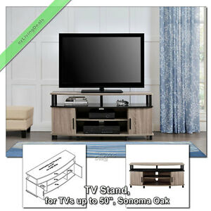 50 inch tv stands for flat screens carson stand media console table sonoma oak ebay. Black Bedroom Furniture Sets. Home Design Ideas