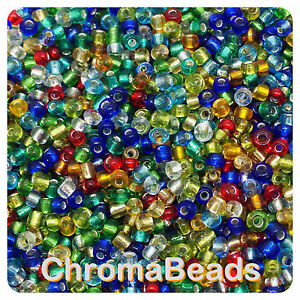 sizes 6,8 and 11 100g Blue Silverlined Glass Seed Beads