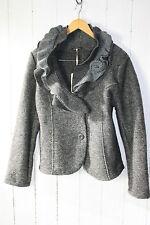 ITALY Jacke Walkjacke Wolle Walk Blazer Volant Kragen Gr M/L  Dunkel Grau  NEU
