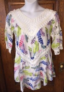 Details about New $75 ONE LOVE JAMAICA Feather Print, Open Crochet Trim  COVER UP TOP, OSFM