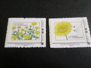Flora-Lot-2-Francobolli-Anthemis-Semi-Francia-Autoadhesifs-Nuovi-MNH-Stamps