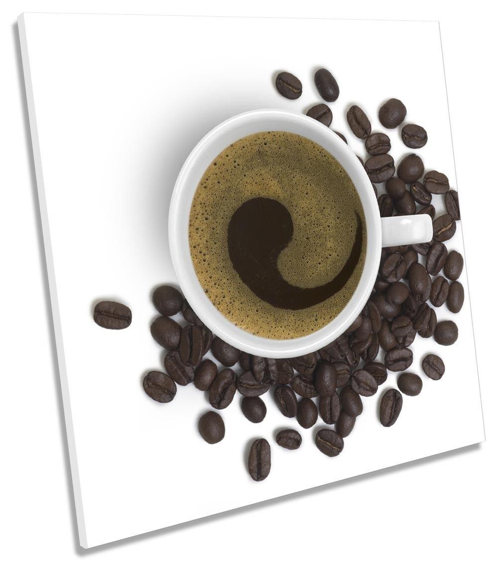 Coffee braun Cup Kitchen Weiß Bild CANVAS Wand Kunst Square Drucken