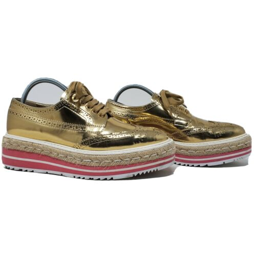 PRADA espadrille oxford shoes gold brogue pink pl… - image 1