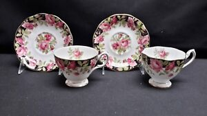 Queen-Anne-England-Bone-China-Black-Magic-Two-Cups-amp-Saucers