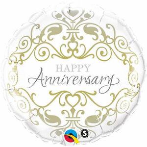 WEDDING-ANNIVERSARY-PARTY-SUPPLIES-18-034-GOLD-amp-SILVER-QUALATEX-FOIL-BALLOON