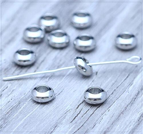 10x Métal Perles Spacer Zwischenteil Bijoux À faire soi-même Plaqué Ring 6x3 5 mm ms588