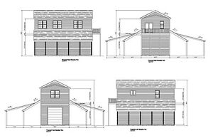 GARAGE WITH APARTMENT ABOVE 20'X40' GAMBREL PLANS PRINTS ...