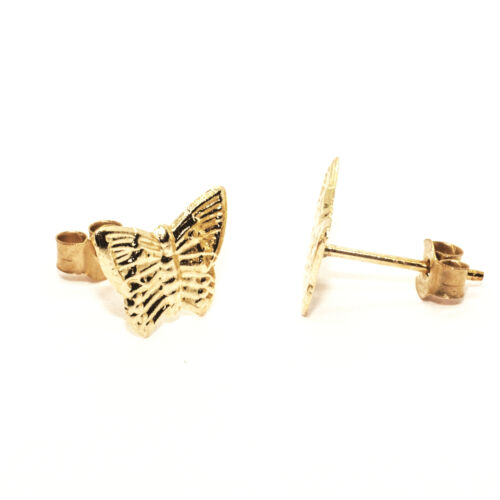 9ct gold stud earrings butterfly design post and backs also 9ct yellow gold