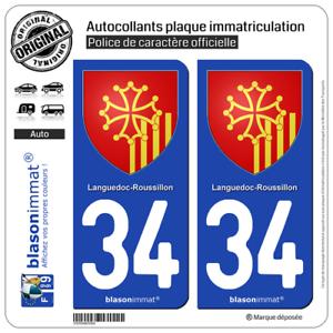 Armoiries 2 Blason plaque immatriculation auto34 Languedoc-Roussillon